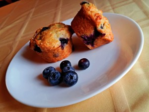 Blueberry Muffins shown with large blueberries